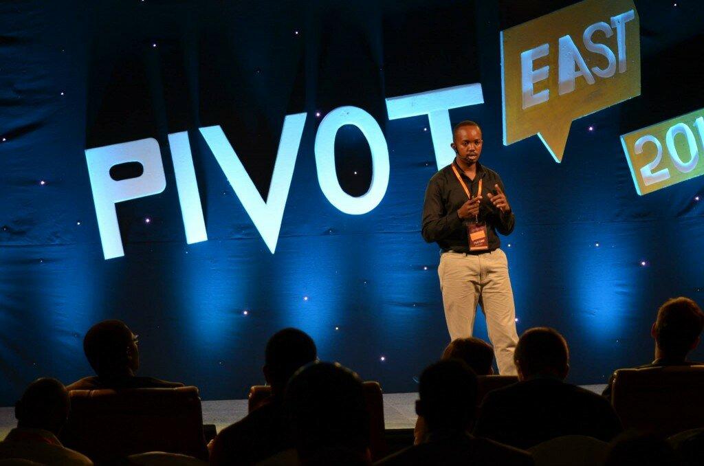 Martin Njuguna from Chamasoft pitching during PIVOT East 2014 competition